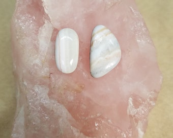 White Banded Marble Freeform Oval Cabochons/ backed set of 2