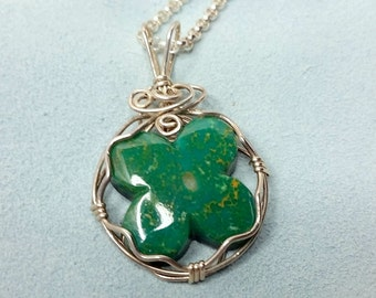 Green Fourleaf Clover Turquoise Pendant/silver wire wrapped/ Sonora