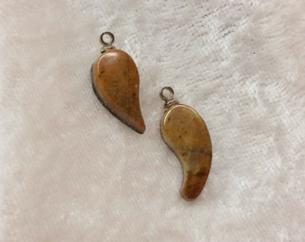 Orange Brown Picasso Marble Small Water  & Tear Drop cabochon set/ backed with sterling silver eyehook