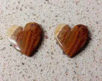 Brown, Tan & Red Banded Onyx Medium Heart Cabochon Pair/ backed