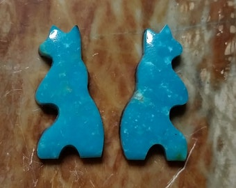 Blue SonoraTurquoise Bear Cabochon Pair/ backed