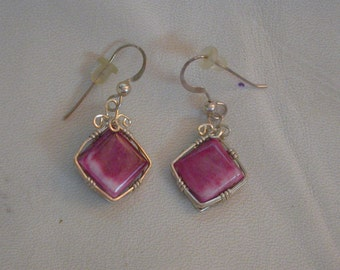 Purple Oyster Shell Square Earrings with Sterling Silver Wirewrap