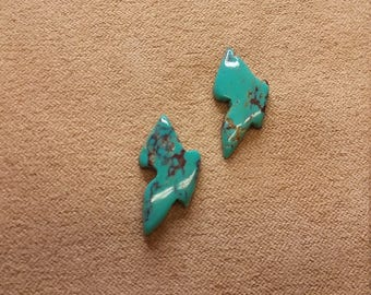 50% OFF Bisbee Turquoise Butterfly Cabochon Pair/ backed/ seconds