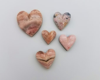40% OFF--Pink Rhodocrosite and Rhodonite Medium, Small Heart Cabochons Group/ backed/ seconds