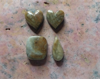 Beige Gray Picasso Marble Cabochons / Backed Set of 4: Hearts, Tear Drop, Rounded  Square