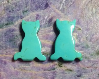 Blue Green  Turquoise Cat Small Cabochon Pair/backed/ Turquoise Mountain