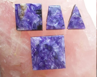Purple Charoite Square, Rectangle and Triangle Cabochons/ backed set of 4