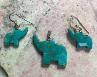 Blue Gem Turquoise Elephant Pendant & Earrings Set/ backed
