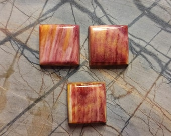 Orange and Purple Square Spiny Oyster Shell Cabochon Set of 3/ backed