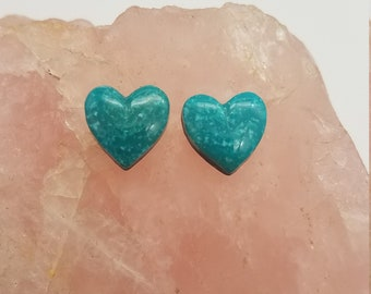 Blue Sonora Turquoise Small Heart Cabochon Pair/ backed