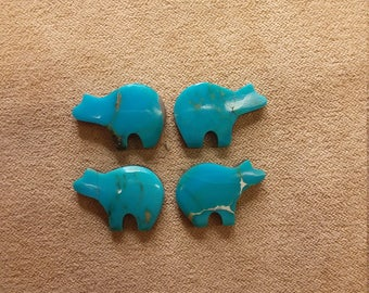 60% OFF Assorted Arizona Blue Turquoise Bear Cabochons/ backed/ seconds