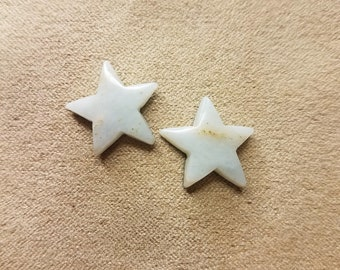 Small White Marble Star Cabochon Pair/ backed