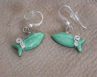 Green Variscite & Sterling Silver Fish Earrings
