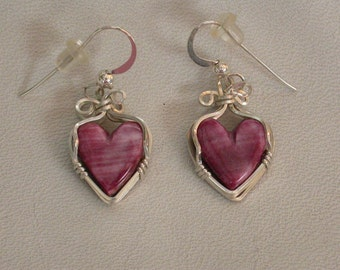 Purple Spiny Oyster Shell Heart Earrings with Sterling Silver Wire-wrap