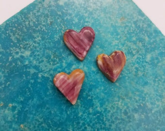 Purple and White Striped Spiny Oyster Shell Small Heart Cabochon Trio