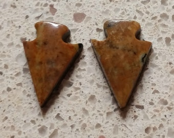 Orange Brown Picasso Marble Arrowhead Small Cabochon pair/ backed