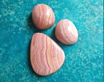 Pink Rhodocrosite Oval Cabochon Trio/  backed