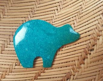 Turquoise  ExLarge Bear Cabochon/ Backed