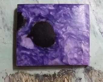Large Rectangle Purple Charite Cabochon with black and silvery matrix/ b acked