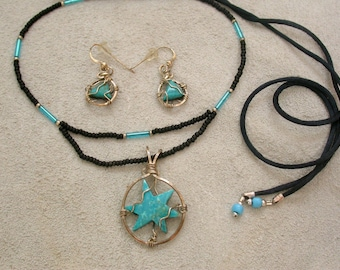 Blue Turquoise Starburst Necklace & Earring Set minned from Sonora Mexico