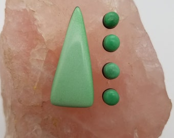 Light Green Variscite Large Triangle Cabochon and Small Circle Cabochons/backed
