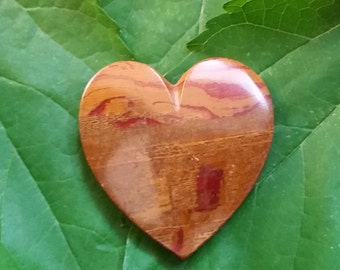 Brown & Blood Red Large Onyx Heart Cabochon/ backed