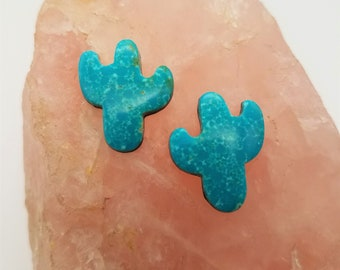 Blue Sonora Turquoise Medium Small Cactus Cabochon Pair/ backed