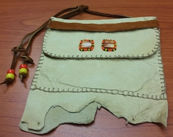 Natural Cream Deerskin Leather Pouch with brown leather ties/ 2 spiny oyster shell cabochons