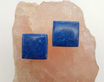 Large Dark Blue Lapis Lazuli Square Cabochon Pair/ backed