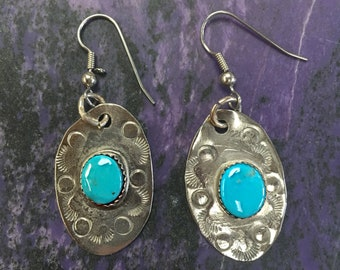 Blue Gem Turquoise & Stamped German Silver Oval Earrings