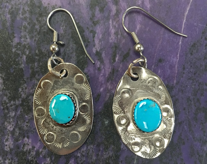 Featured listing image: Blue Gem Turquoise & Stamped German Silver Oval Earrings