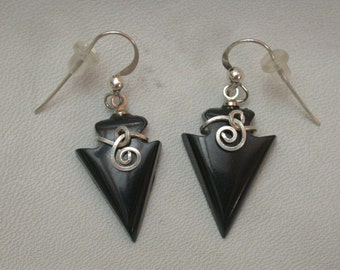 Black Colorado Oil Stone Arrowhead Earrings with Sterling Silver Wirewrap & French Earwire