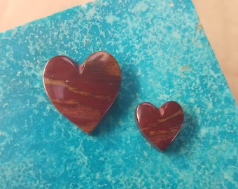 Blood Onyx Heart Cabochon Pair/ backed/