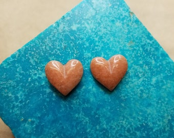 Pink Alabaster Heart Cabochon Small Pair/ backed
