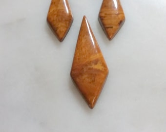 Brown Red Diamond Onyx Cabochons/3 set/backed
