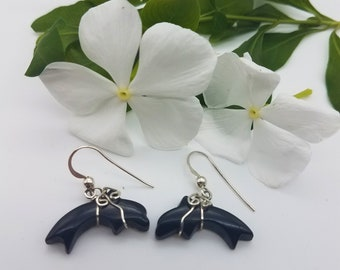 Black Colorado Oil Stone & Sterling Silver Dolphin Earrings with French Earwires