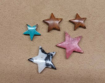 60% OFF Assorted Star Cabochon Set/ backed/ seconds/ turquoise/ onyx/zebra marble/ rhodocrosite