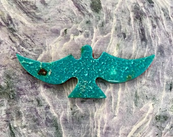 Medium Blue Green Sonora Turquoise Flying Eagle Cabochon/ backed