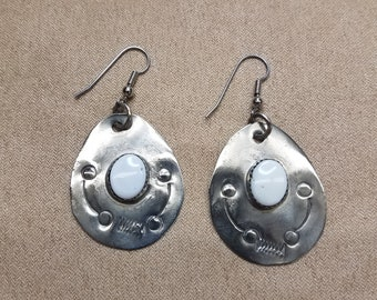 Native American/ Tribal/ Primitive German Silver & Magnesite Teardrop Earrings Stamped Design