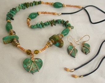 GreenTurquoise Happy & Sad Hearts; a Fancy Set of beads, gold plated findings,Turquoise nugets and chips