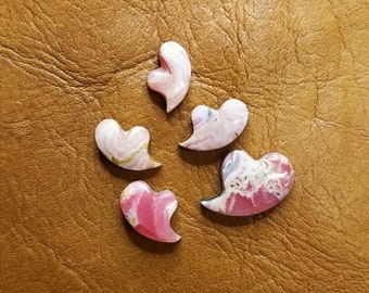 Pink Rhodocrosite Small Heart Cabochon Set of 5/ backed