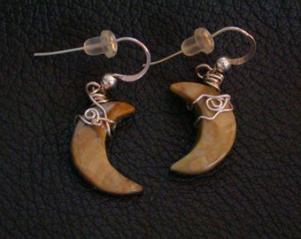 Crescent Moon Earrings/ Picasso Marble/ sterling silver wrapped