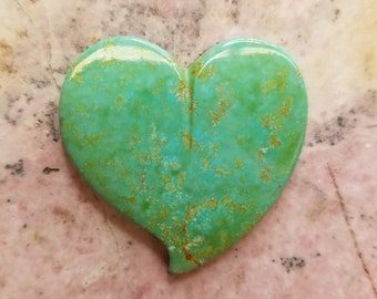Green Hachita Turquoise  Large Tear Heart Cabochon / backed