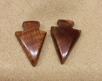 Golden Brown Banded Tigers Eye Arrowhead Small Cabochon Pair/ backed