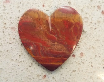 Blood Red Banded Onyx Large Heart Cabochon/ backed