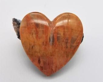 Yellow Orange Large Onyx Heart Cabochon/ backed