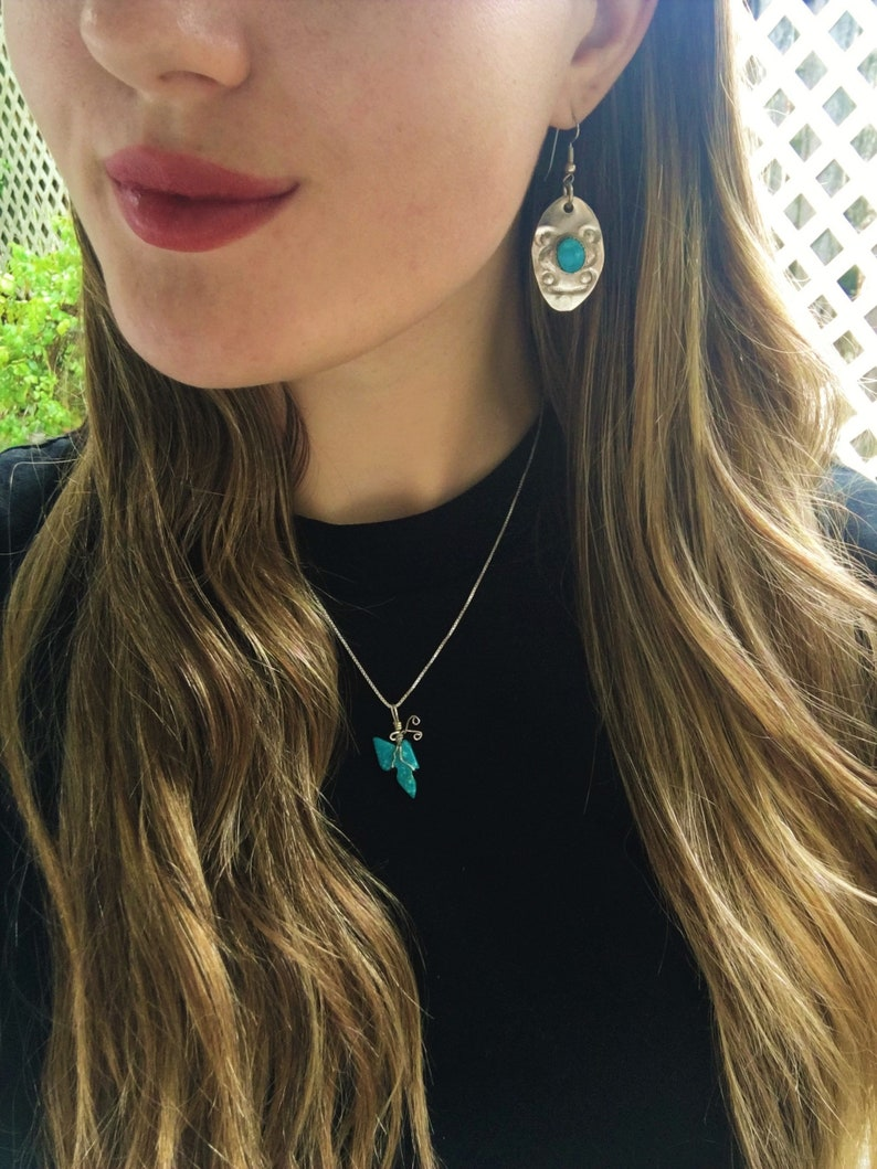Blue Sonora Turquoise Small Butterfly Pendant with Sterling Silver Wire Wrap Accent