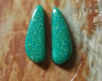 Green SonoraTurquoise Boomerang Cabochon Pair/ backed/