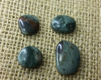 Forest Green Picasso Marble Freeform  Cabochons/backed  Set of 4