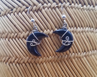 Black Colorado Oil Stone Crescent Moon Earrings with Sterling Silver French Earwire and wire accent